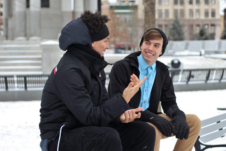03 guys talking on bench